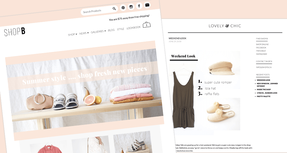 Shop B and Blog