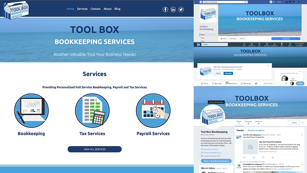 Toolbox Bookkeeping Site and Social Branding Examples